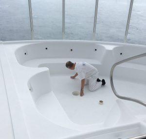 Hot tub repairs onboard a cruise ship