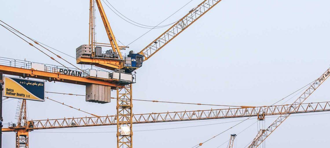 Cranes on construction sites