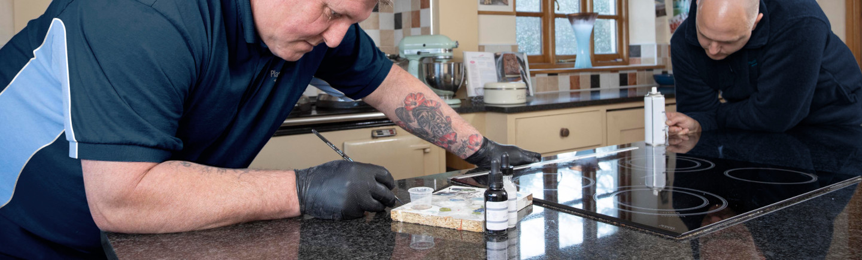 Repairing and polishing granite and marble worktops