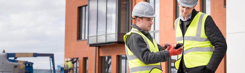 Men on a business construction site