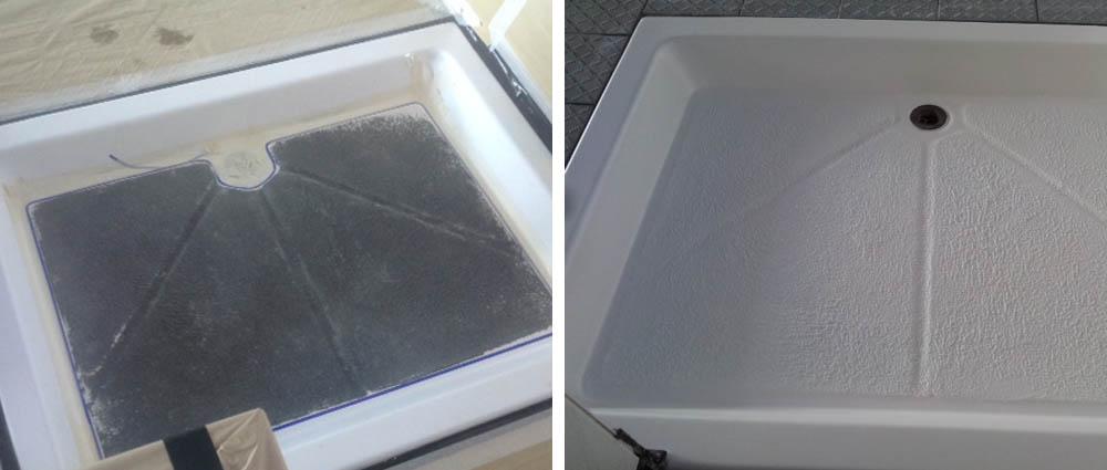 Anti-slip coating for shower trays
