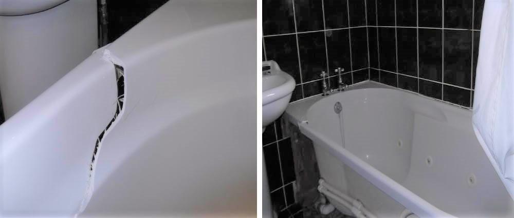 Badly cracked bath repair