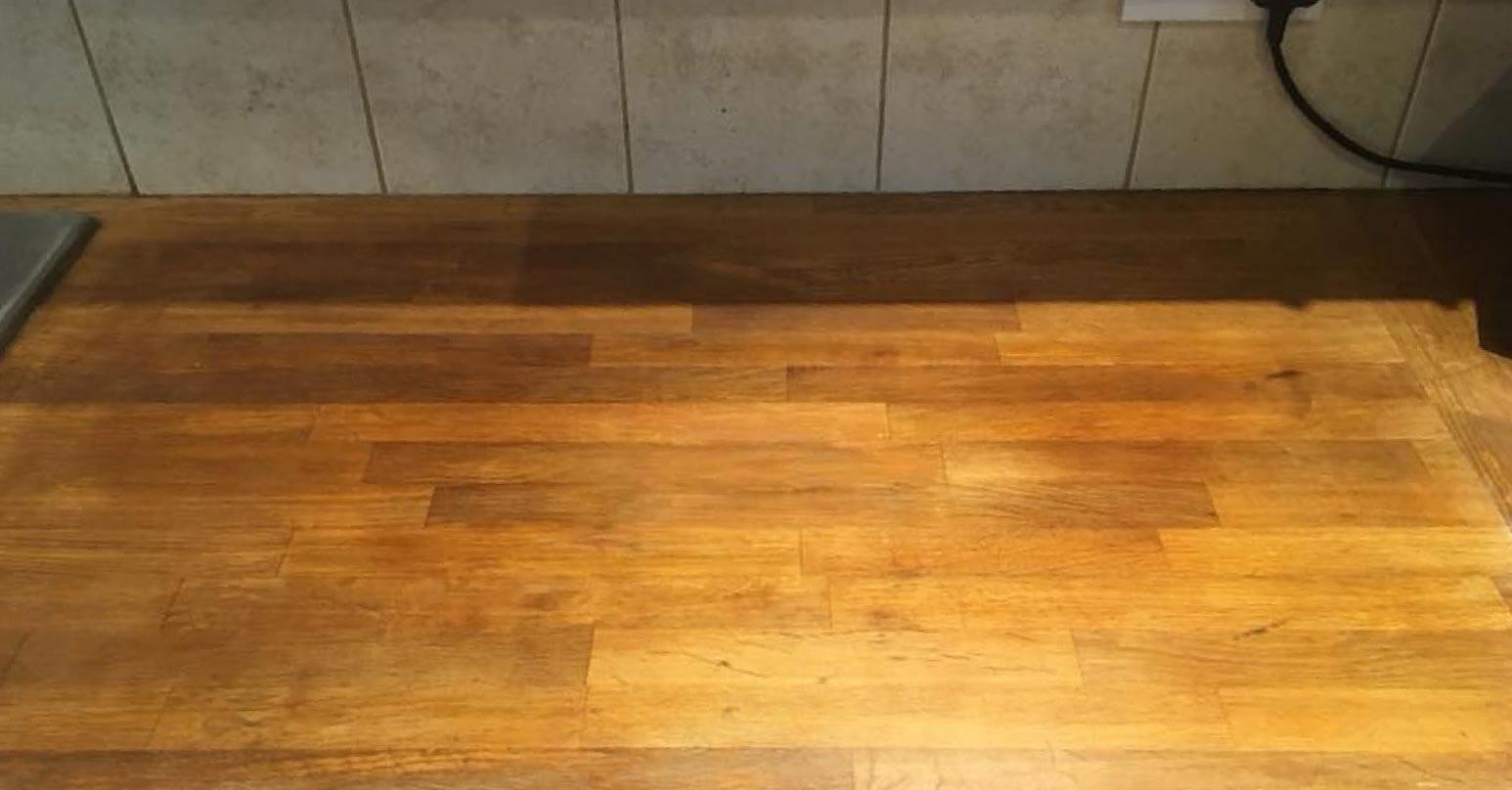 Repair to solid wood worktop