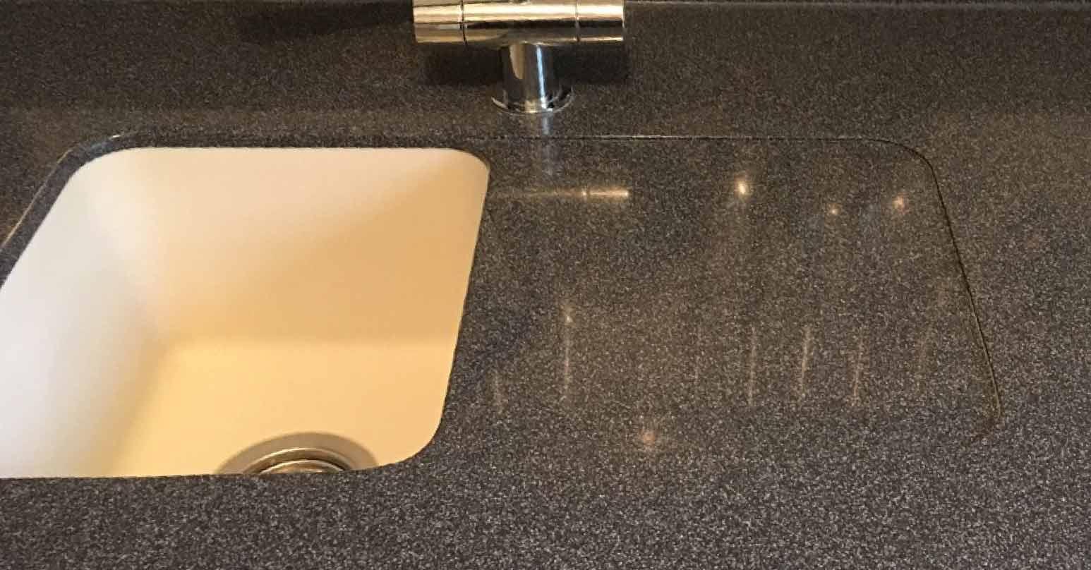 Stained composite worktop - After repair