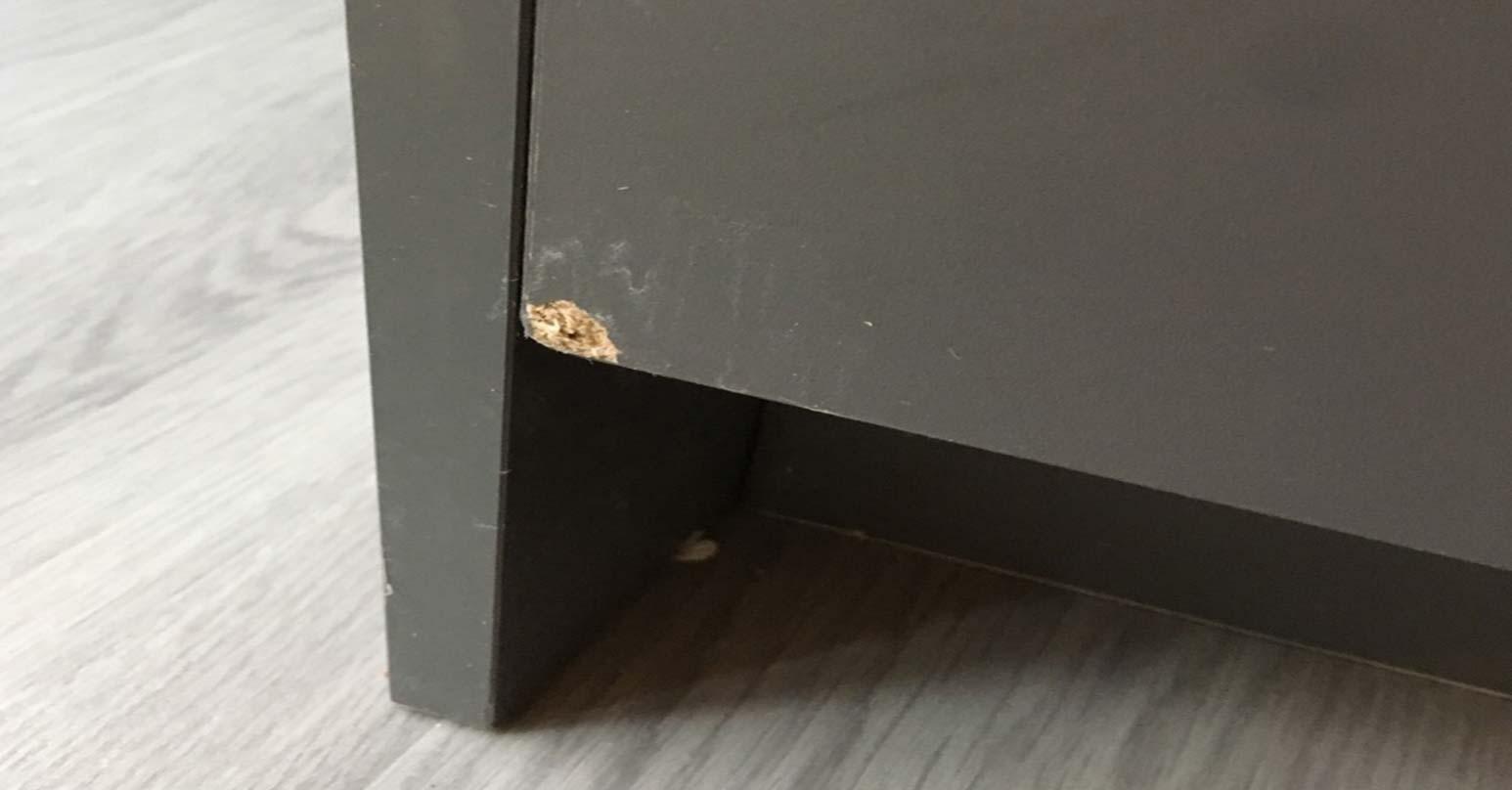 Cupboard dent - Before repair