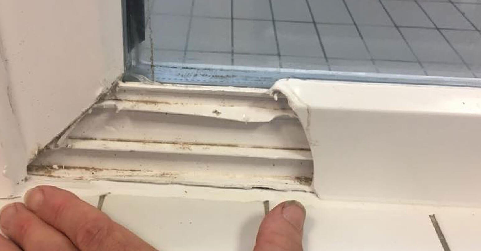 Damaged UPVC window frame