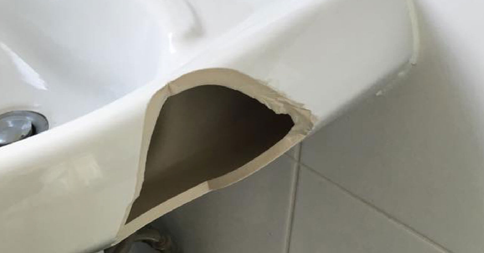 Large chip in sink