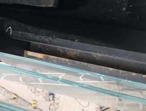 Damaged powder window frame