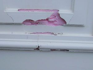 Damaged UPVC door