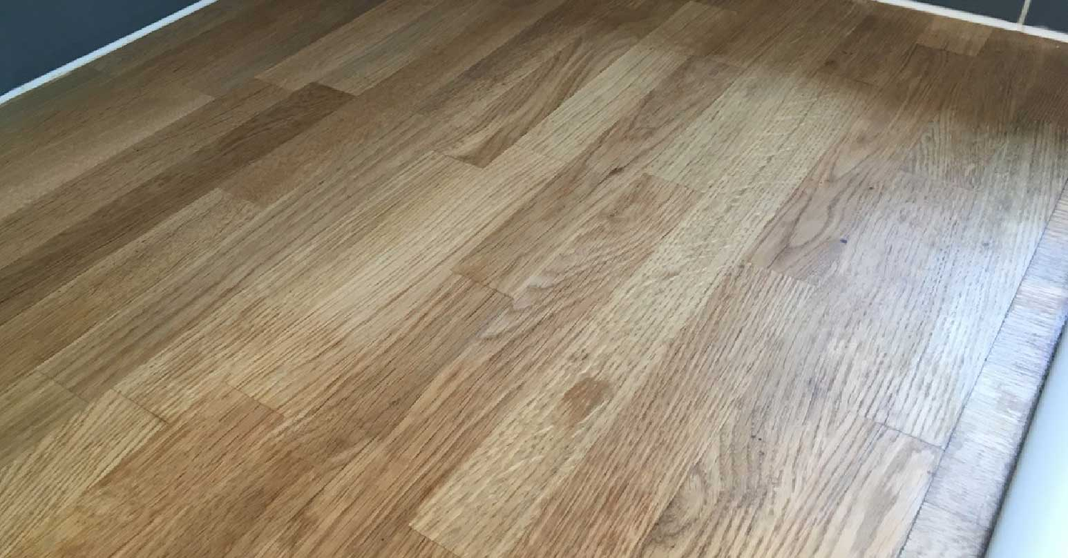 Water stained wooden worktop - After repair