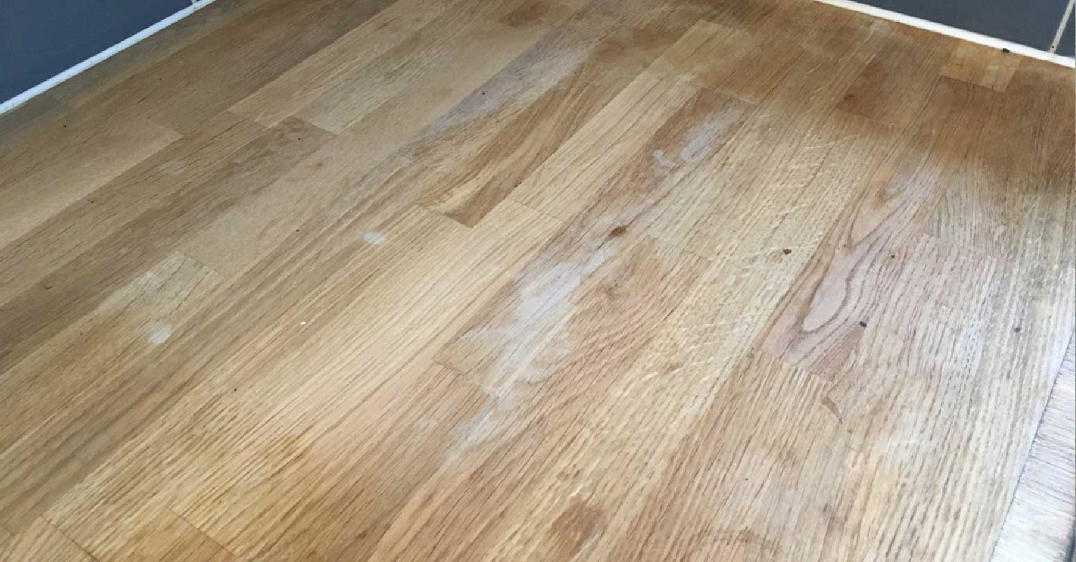 Water stained wooden worktop