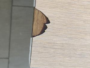 Cracked veneer surface