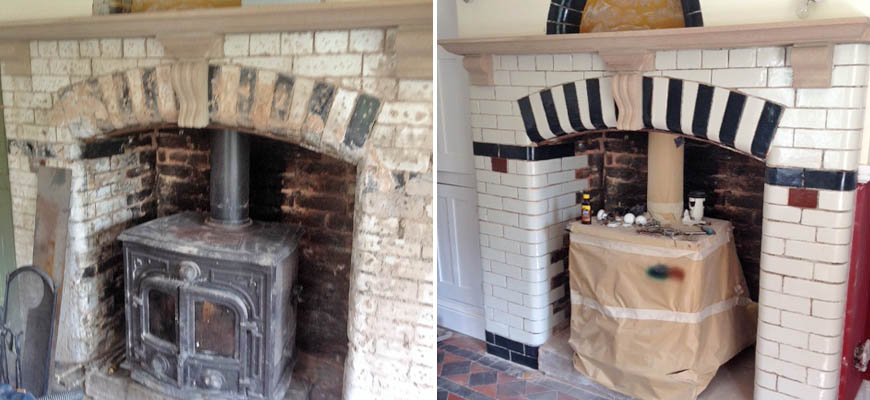 Glazed victorian crick repair - fireplace surround