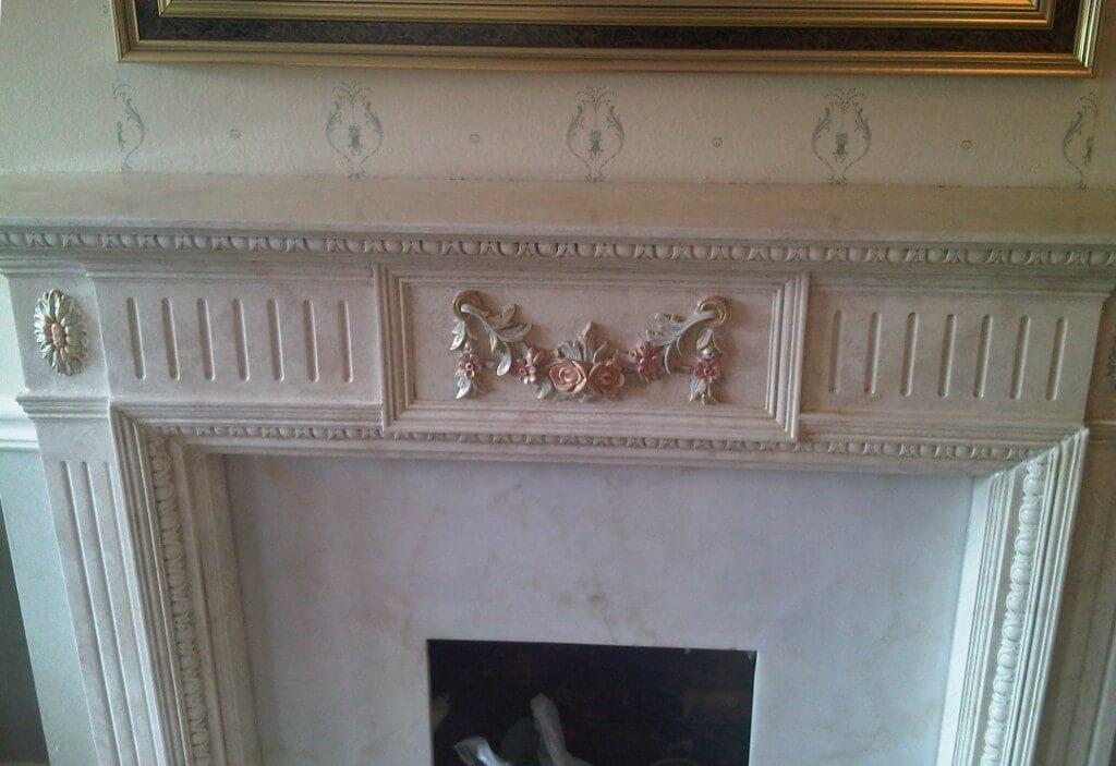 Damaged plaster fireplace repair