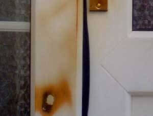 Burned UPVC door