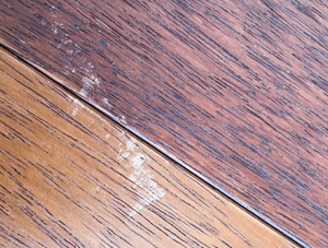 Scuffed laminate flooring