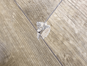 Dented laminate flooring