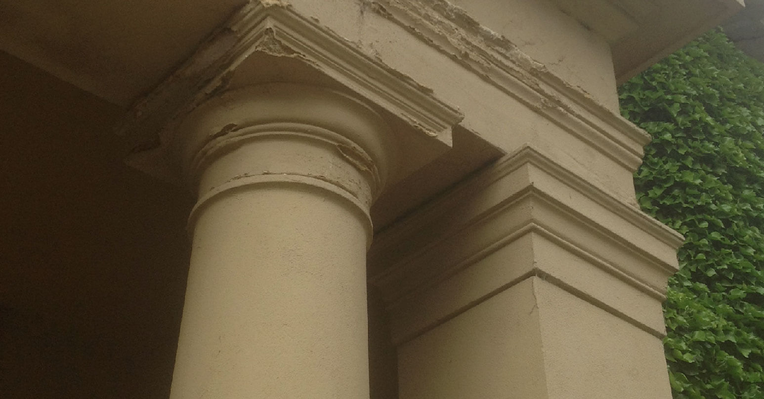 Damage and chips to stone pillars