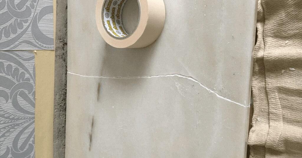 Cracked marble worktop - Before repair