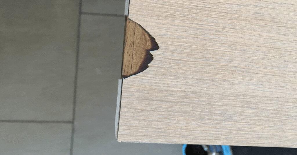 Cracked veneer table - Before repair